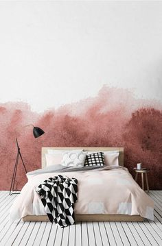 Calming watercolour wallpaper mural in pink. Soft pink in the bedroom. Stunning collection by Murals Wallpaper - Hege in France