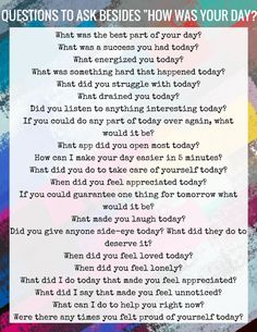 Questions to Ask Besides How Was Your Day?