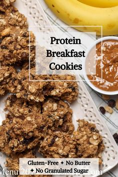 Enjoy these Protein Breakfast Cookies for a satisfying and filling breakfast that has no butter and no processed sugar (except in the chocolate chips)! They take only one bowl and are ready in under 20 minutes. Enjoy them for a healthy breakfast or even an afternoon snack. Pin these today! #healthybaking #reducedsugar #healthybreakfast #vegetarianrecipe #glutenfreerecipe #easybreakfast