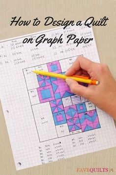 Designing a quilt on graph paper is easy and fun. No need for quilt patterns when you have your own design you can make. Learn how to design your own quilt using graph paper. Make beautiful blocks and a quilt that's all your own with this helpful resource Quilting Tools, Quilting Tutorials, Machine Quilting, Quilting Projects, Quilting Ideas, Craft Projects, Hand Quilting Designs, Triangle Quilt Tutorials, Quilting Quotes