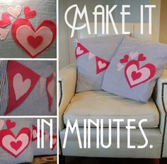 10 minute craft alert!  Make these fun no-sew pillow covers.