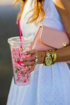 Lilly Pulitzer Tumbler with Straw Pink Colony Preppy Southern, Southern Prep, Southern Belle, Southern Girls, Southern Shirt, Southern Marsh, Southern Tide, White Eyelet Dress, Sequin Dress