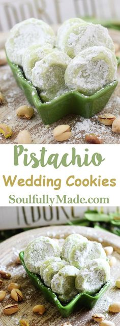 Melt-in-your-mouth Pistachio Wedding Cookies are soft, buttery cookies that are a little sweet and a little salty, but a whole lot of deliciousness!