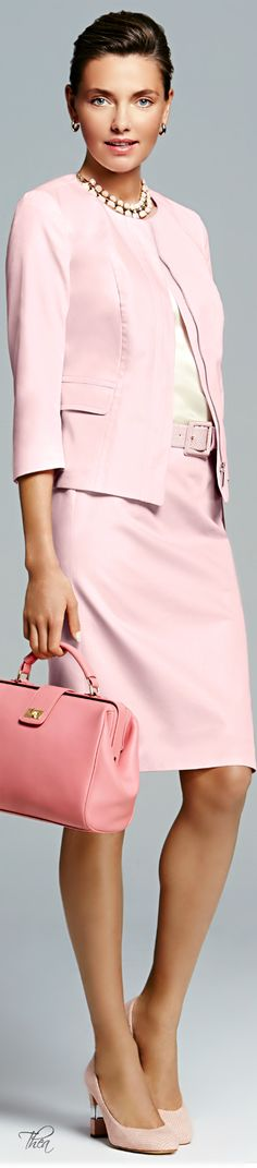 This pink suit is so pretty. Talbots ● SS 2014 Via Suit Fashion, Pink Fashion, Womens Fashion, Fashion Glamour, Dress Fashion, Office Fashion, Business Fashion, Modern Suits, Mode Rose
