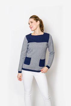 Lanie Sweater | Navy & Ivory Herringbone