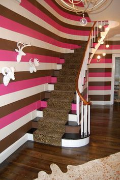 Staircase In 1832 Estate Home. Bright Stripes And Other Touches Make It Unique.