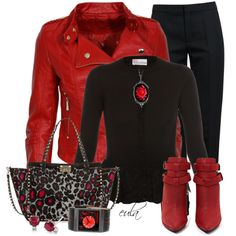 """""""Leopard Print and Red (Outfit Only)"""" by eula-eldridge-tolliver on Polyvore"""