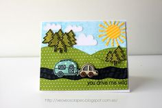 Lawn Fawn - Happy Trails + coordinating dies, Stitched Hillside Borders, Spring Showers, Let's Polka 6x6 paper _ super fun and creative scene by Ro at Veo Veo Scrapeo