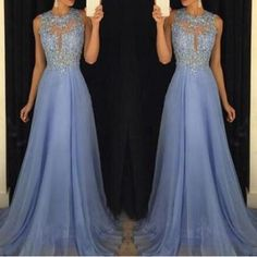 Carolina Blue prom dress, Beaded prom dress,Lace Appliques prom dress, Chiffon prom dress, Prom Dress With Cut Out Back