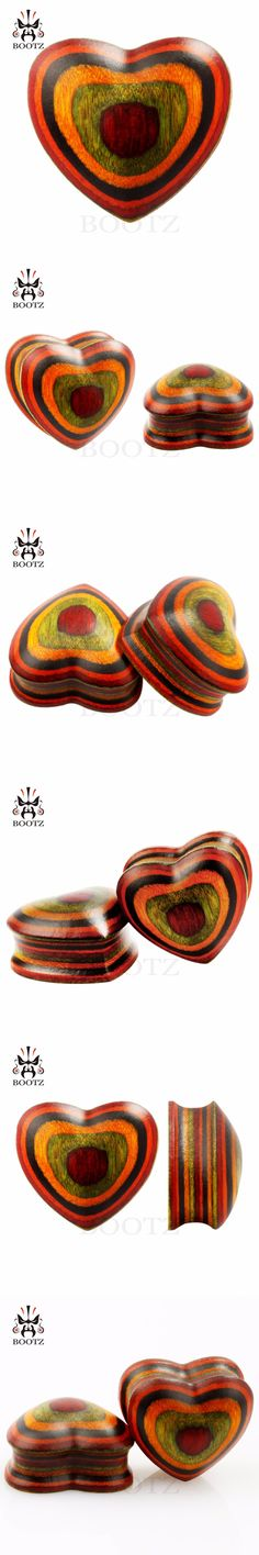 new colorful wood ear expander heart style ear tunnel body jewelry ear plugs 2pcs pair selling 8mm to 25mm gauges