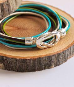 Leather Wrap Bracelet // Infinity Knot Bangle // Spring