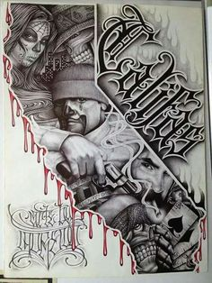 This beautiful variation from traditional Latino art has the traditional form, style, and content. And it also has a new element, the collage is surrounded, bordered; by the central subject. Gangster Drawings, Gangster Tattoos, Arte Cholo, Cholo Art, Chicano Art Tattoos, Chicano Drawings, Tattoo Design Drawings, Tattoo Sketches, Art Drawings