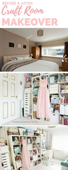 Before & after Craft Room Makeover - This dull bedroom was transformed into a pretty shabby craft room/creative studio with a giant Ikea Kallax unit, Alex Desk and Alex Drawers @ikeauk