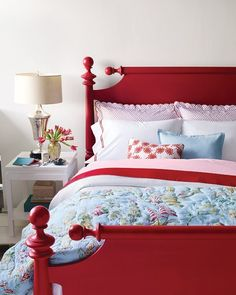 "Dishfunctional Designs: Vintage Red Painted Furniture ""I HAVE this same exact bed in original maple! You do know what I AM gonna do!"" NOTE: (a year later) But I didn't- I gave the bed away ; Painted Bed Frames, Painted Beds, Bedroom Red, Home Bedroom, Bedroom Decor, Bedroom Furniture, Master Bedroom, Blue Bedrooms, Trendy Bedroom"