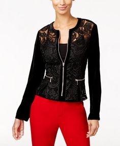 INC International Concepts Velvet-Sleeve Lace Peplum Jacket, Only at Macy& - Lace Jacket - SLP - Macy& Peplum Jacket, Lace Peplum, Lace Jacket, Concept Clothing, Lacey Tops, Batik Fashion, Embroidered Bomber Jacket, Frocks For Girls, Blazer Jackets For Women