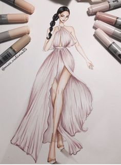 Fashion Illustration Design by Costume Design Sketch, Dress Design Sketches, Fashion Design Drawings, Fashion Sketches, Fashion Drawing Dresses, Fashion Illustration Dresses, Fashion Dresses, Fashion Illustrations, Drawings Of Dresses