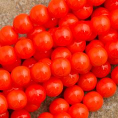 100 Czech 6mm Pressed Glass Round Opaque Bright Orange Beads 93160