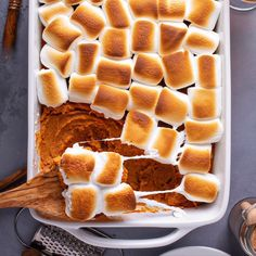 My Mama's Sweet Potato Casserole recipe is loaded with marshmallows, butter, cin… My Mama's Sweet Potato Casserole recipe is loaded with marshmallows, butter, cinnamon and a secret ingredient to win the title of best Thanksgiving side dishes! Sweet Potato Casserole Recipe With Marshmallows, Best Sweet Potato Casserole, Recipes With Marshmallows, Sweet Potato Recipes, Yam Casserole, Loaded Sweet Potato, Best Thanksgiving Side Dishes, Thanksgiving Casserole, Sweet Potatoes Thanksgiving