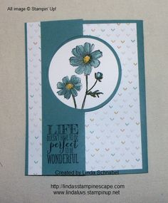 Bloom with Hope and Perfect Pennants Stamp sets by Stampin' Up! in Lost Lagoon... full details can be found on my blog.  http://lindasstampinescape.com