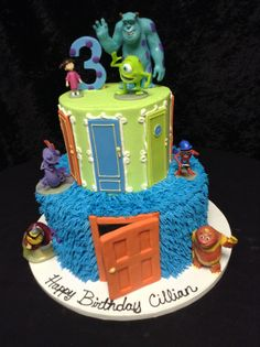 Cookie Jar Bakeshop I Custom Cakes I Birthday Cake I Monsters Inc Themed Birthday Cake I Blue & Green Cake