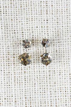 Crystal Cube Jacket Earrings