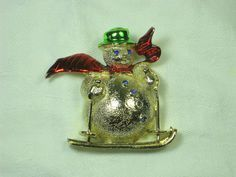 Vintage Christmas Pin Winter Snowman by LavenderGardenCottag