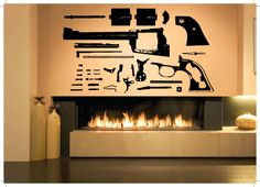 Gun Vinyl Wall Decal Revolver Gun Weapon Pistol Mural Wall Sticker Living Room Boys Bedroom Decorative Home Decoration. Yesterday's price: US $25.94 (21.44 EUR). Today's price: US $25.94 (21.47 EUR). Discount: 9%.