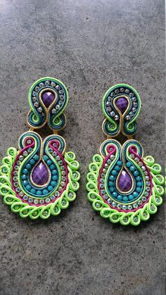 Your place to buy and sell all things handmade Macrame Earrings Tutorial, Earring Tutorial, Beaded Earrings, Earrings Handmade, Crochet Earrings, Soutache Bracelet, Soutache Jewelry, Beaded Jewelry, Fabric Necklace