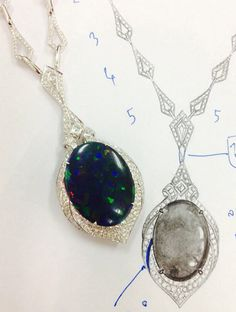 Drawing and Necklace with #Lightning Ridge #Opal