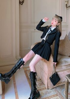 Kpop Fashion Outfits, Girls Fashion Clothes, Edgy Outfits, Korean Outfits, Cute Casual Outfits, Pretty Outfits, Girl Outfits, Kawaii Fashion, Lolita Fashion