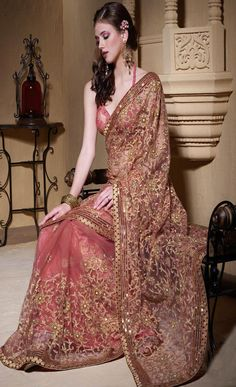Peach Net #Saree with Blouse @ $113.07 | Shop @ http://www.utsavfashion.com/store/sarees-large.aspx?icode=slskk3733