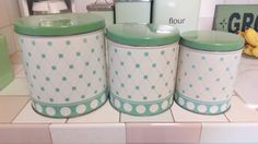 Set of Three Vintage Cylinder Nesting Canisters, Green and Cream, Polka Dots