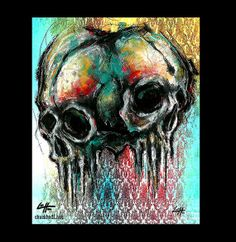 Print 8x10  2 Skulls  Skull Skeletons Bones Dark Art by chuckhodi, $10.00