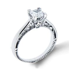 Shop online VERRAGIO WCE-10585 Vintage 18K - White Gold Diamond Engagement Ring at Arthur's Jewelers. Free Shipping