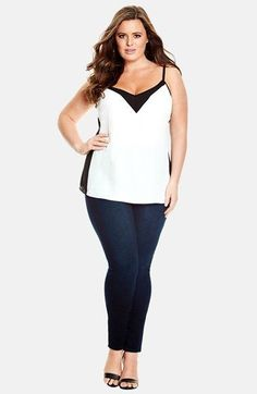 Plus Size Fashion for Women - Plus Size Top - Plus Size City Chic Colorblock Camisole (Plus Size)