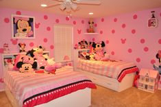 Decor Minnie Mouse Bedroom Decor With Two Beds There Is Also A Fan In The Room As Well As Room Wall Decor And The Room With The Dominant Color Pink Minnie Mouse Bedroom Decor for Little Girl's Room Paint Ideas. Princess Bedrooms, Disney Bedrooms, Baby Bedroom, Girls Bedroom, Coral Bedroom, White Bedroom, Toddler Rooms, Toddler Bed, Kids Rooms