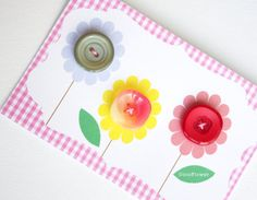 3 multicolor sewing buttons green red pink by CocoFlowerCraft
