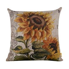LINKWELL 18″x18″ Shabby Chic Vintage Sunflower Big Burlap Cushion Covers Pillow Case (CC938)