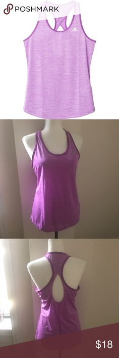 """EUC Adidas Performance Climalite Keyhole tank No signs of wear, wore just twice. Deep scoop neck and open back detail, light and breathable fabric perfect for your workouts (100% polyester). Relaxed fit, size M. Approximate measurements: 24,5"""" long, flat across armpit to armpit 18"""". adidas Tops Tank Tops"""