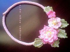 Pink Rose Crochet: Colar Pink Flowers - Crochê