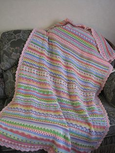 Tinaspice's Stripey Blanket, mixed stitches inspired by littlewoollie -- nice colors & stitch patterns,