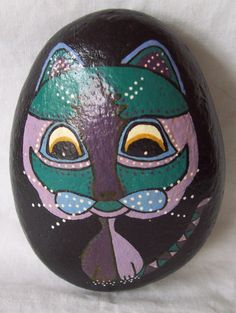 CAT ROCK  Hand painted tumblestone pebble from the sea