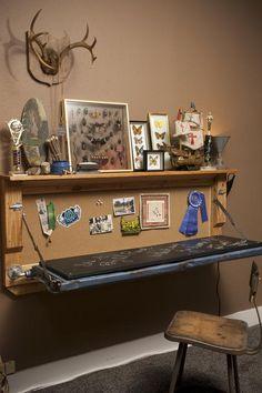 DIY tailgate desk! modern day huck Finn Boy Scout room for Asher on hgtv. reruns now airing on gac. #tailgatedesk #diydesk #byroom--for basement