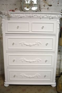 Painted Cottage Chic Shabby Romantic French by paintedcottages French Furniture, Refurbished Furniture, White Furniture, Shabby Chic Furniture, Furniture Makeover, Painted Furniture, Furniture Logo, Diy Furniture, Furniture Design