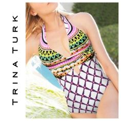 Trina Turk one-piece swimsuit- kon tiki One piece meets fun: This boldly printed Trina Turk design simply says party. NWT. I also have 2 matching coverups listed- one short and one maxi dress. Nylon/elastane. V neck; shoulder straps. Fixed molded cups; attached sash at front under bust; criss-cross tie back.  ❌no offers or trades. You will be declined ❗️❗️ priced to sell  15% discount on bundles of 2 or more Trina Turk Swim One Pieces