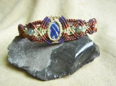 Lapis Lazuli Bracelet in Rust, Plum, and Light Beige Micro Macrame