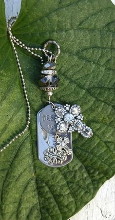 Protection Cross Necklace, Stainless Steel Dog Tag, Religious Jewelry, Inspirational Quote
