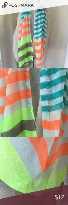 Sheer Boldly Striped Rectangular Scarf Lots of Fun Colors in this sheer fringed scarf  Size 22 x 72 Unknown Accessories Scarves & Wraps