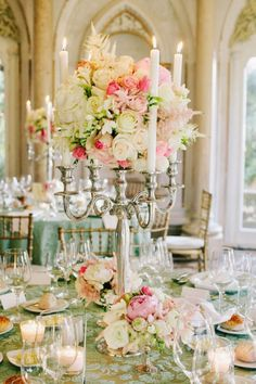 Romantic Tall Floral Wedding Centrepiece