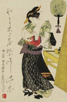 Woman holding child. Ukiyo-e woodblock print, early 1800's, Japan, by artist Utagawa Toyokuni I.
